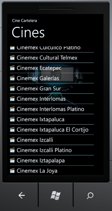 Windows Phone y cinemex